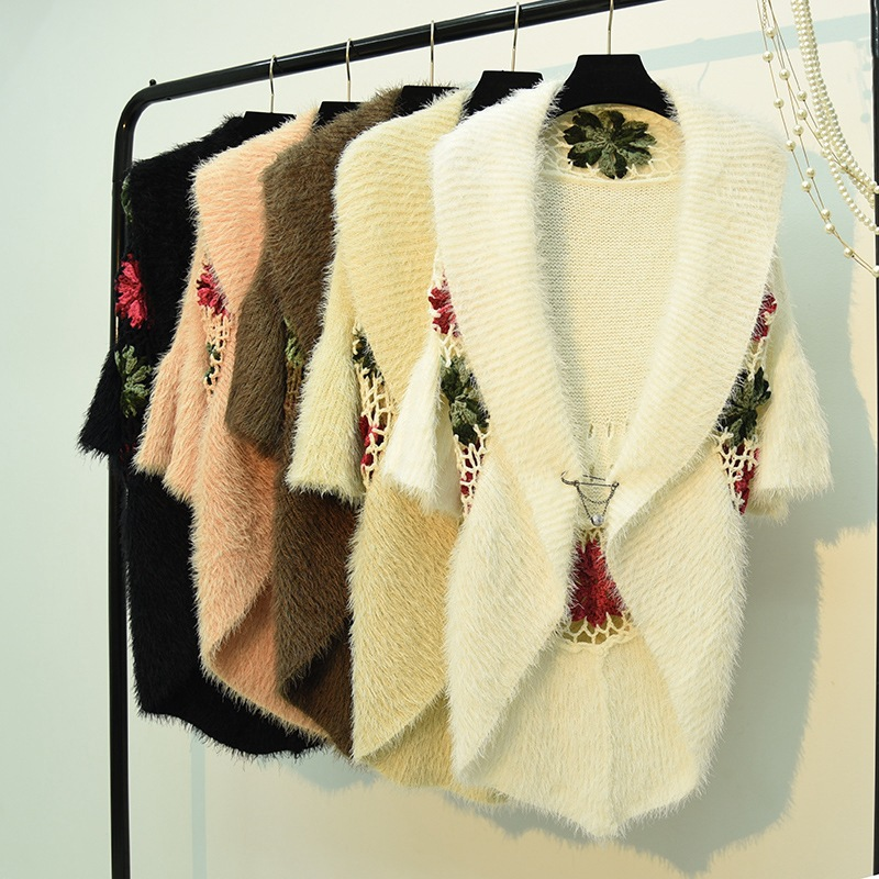 winter women mohair knitted cargidans lady <font><b>3/4</b></font> <font><b>sleeve</b></font> embroidery flower <font><b>sweaters</b></font> women crochet flower cargidans <font><b>sweaters</b></font> image