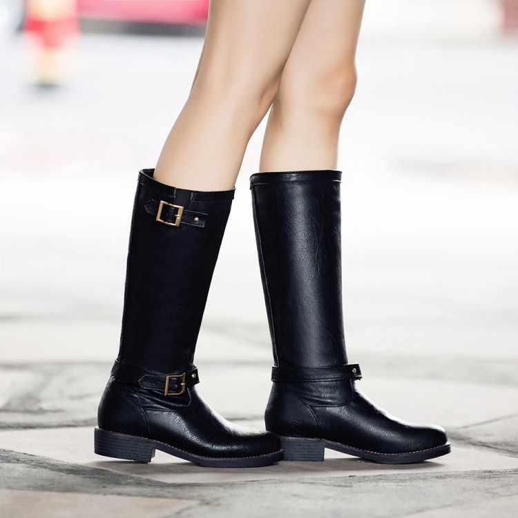 Большие размеры 11, 12, 13, европейцы и американцы с круглым носком, квадратный каблук, боковая молния и пряжка на ремешке