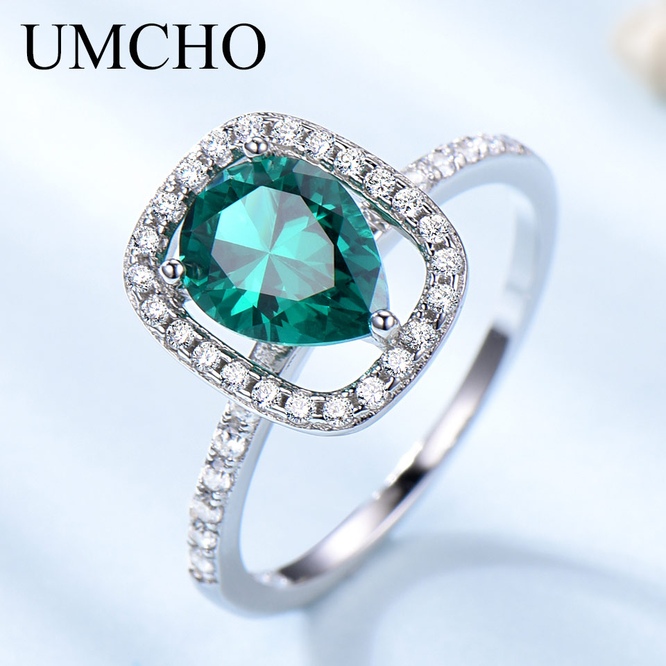UMCHO Emerald Gemstone Rings For Women Genuine 925 Sterling Sliver Vintage Water Drop Royal Ring Wedding Engagement Fine Jewelry