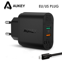 AUKEY Quick Charge 3 0 USB Mobile Phone Charger Fast Smartphone Dual Wall Charger For IPhone
