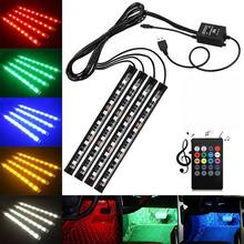 4X DC12V 9 RGB LED Mobil Interior Footwell Lampu Strip USB Charger(China)