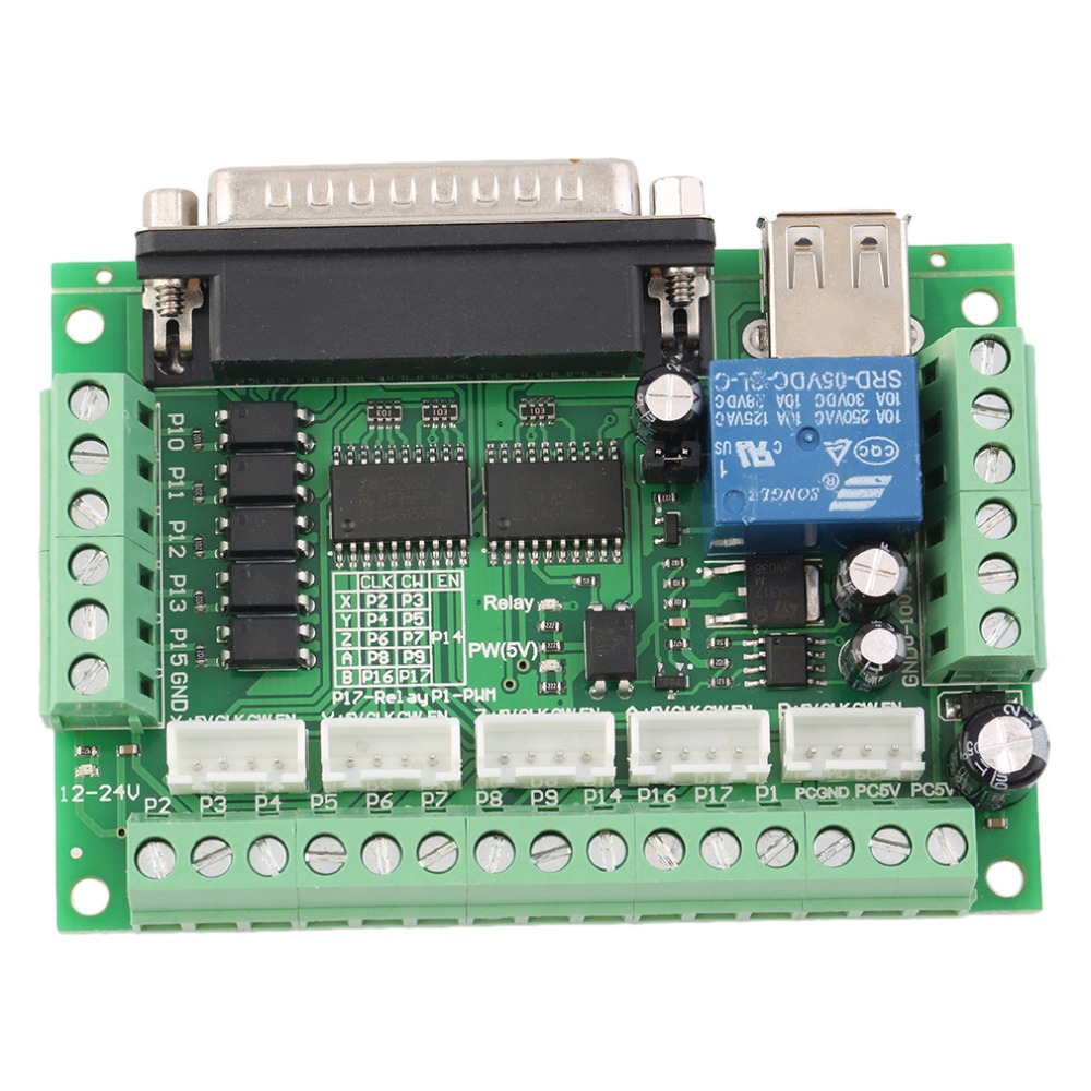 Upgraded 5 Axis CNC Interface Adapter Breakout Board For Stepper Motor Driver Mach3 +USB Cable