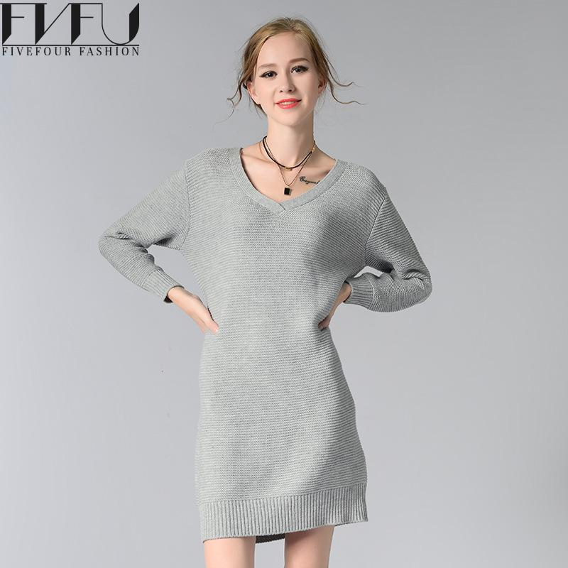 Fashion 2017 Sweater Dress Women Autumn Winter Elegant Knitted Sweater Dress Women High Quality Casual Sweaters