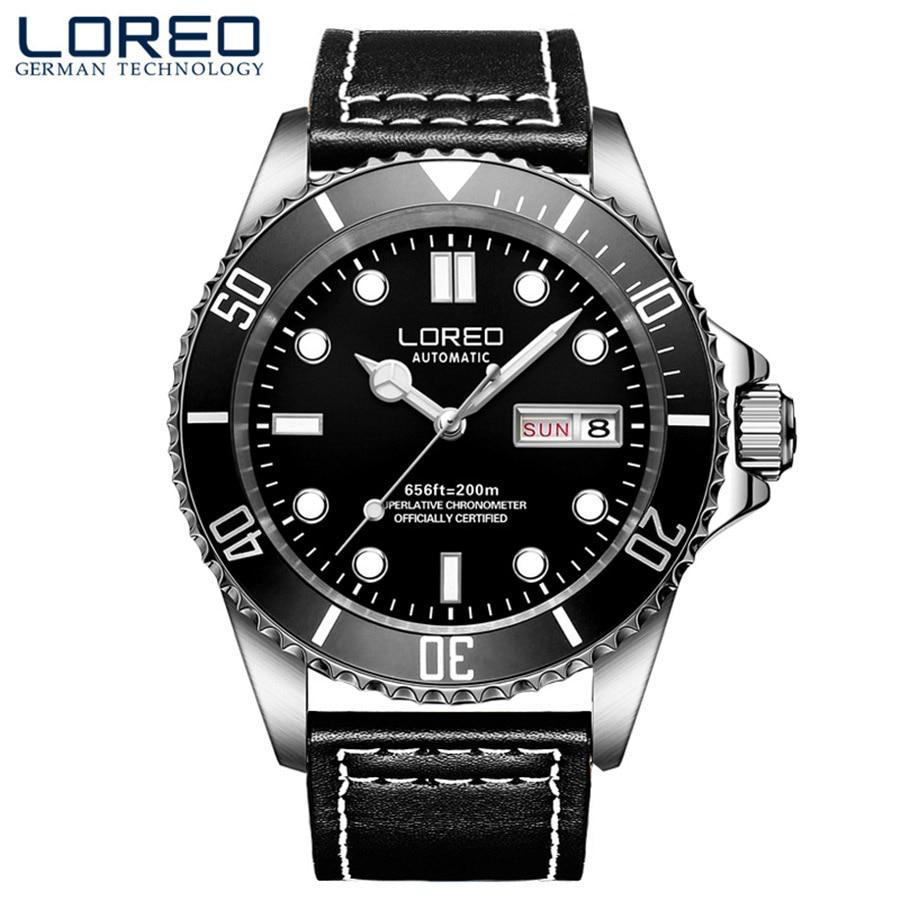 LOREO montre automatique montre minimaliste hommes montre bracelet 2019 saphir cristal plongeur montres mécaniques relogio masculino cadeau