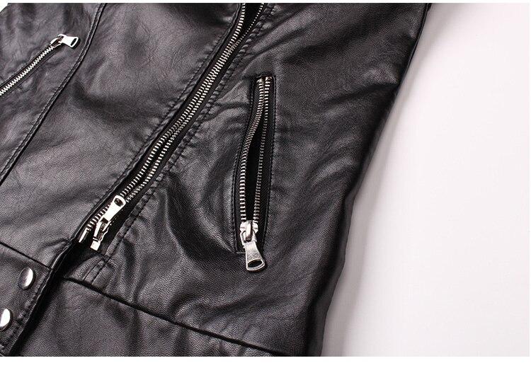 Doux Femme Simili Manteau Printemps Motard Rivet Nouveau Manches Noir Femmes Pu Moto À Cuir Glissière Sans Veste 5wwrEgpqW