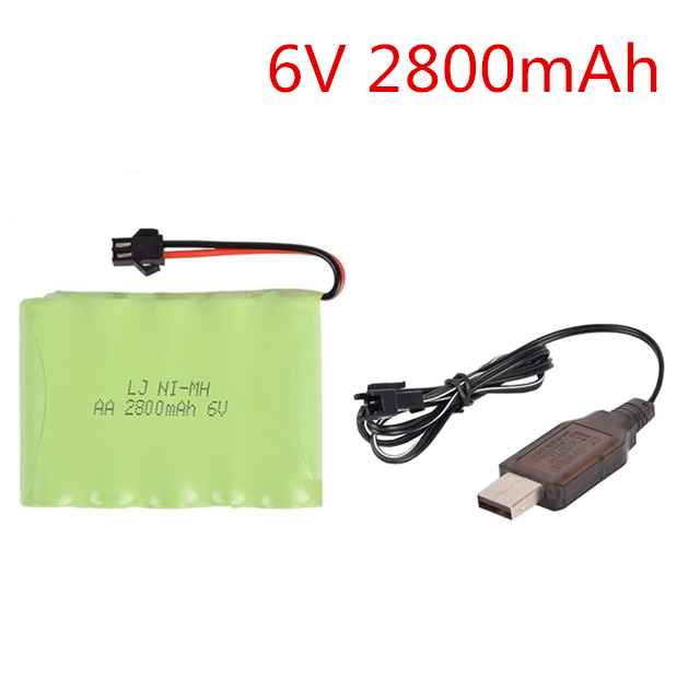<font><b>6V</b></font> 700mah/1800mAh/2800mah Ni-NH AA rechargeable battery+<font><b>usb</b></font> <font><b>charger</b></font> SM-2P plug for RC car RC truck RC tank RC boat image
