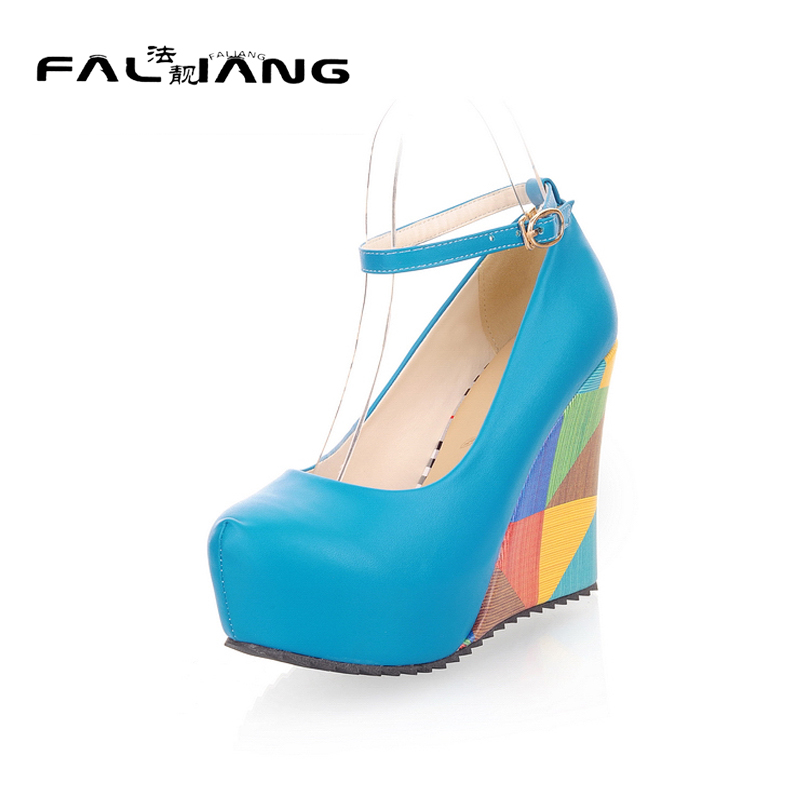Spring Autumn Round Toe Big Size 11 12 Shallow women shoes Sweet woman Wedges ladies Buckle Strap Casual Single shoes new flock high big size 11 12 women shoes wedges pointed toe woman ladies butterfly knot casual spring autumn sweet single shoes