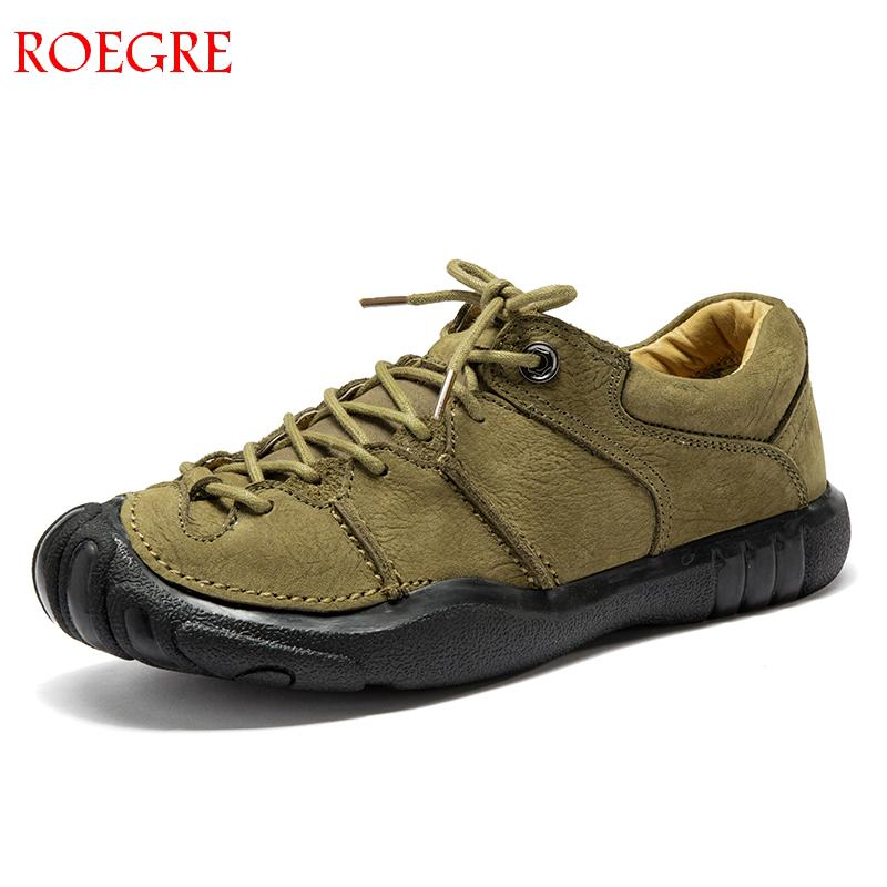 ROEGRE Men s Shoes Casual Genuine Leather Loafers Driving Shoes Loafers 2018 New Men s Fashion