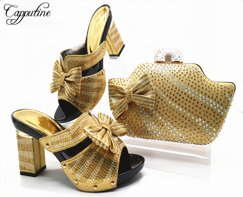 Capputine New Ladies Italian Shoes And Bag Set Gold Color African Shoes And Matching Bags Nigerian Wedding Shoes And Bag G46