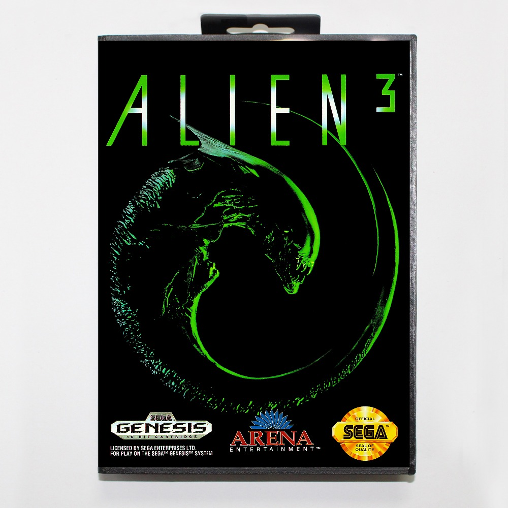 Alien 3 16 bit MD card with Retail box for Sega MegaDrive Video Game console system