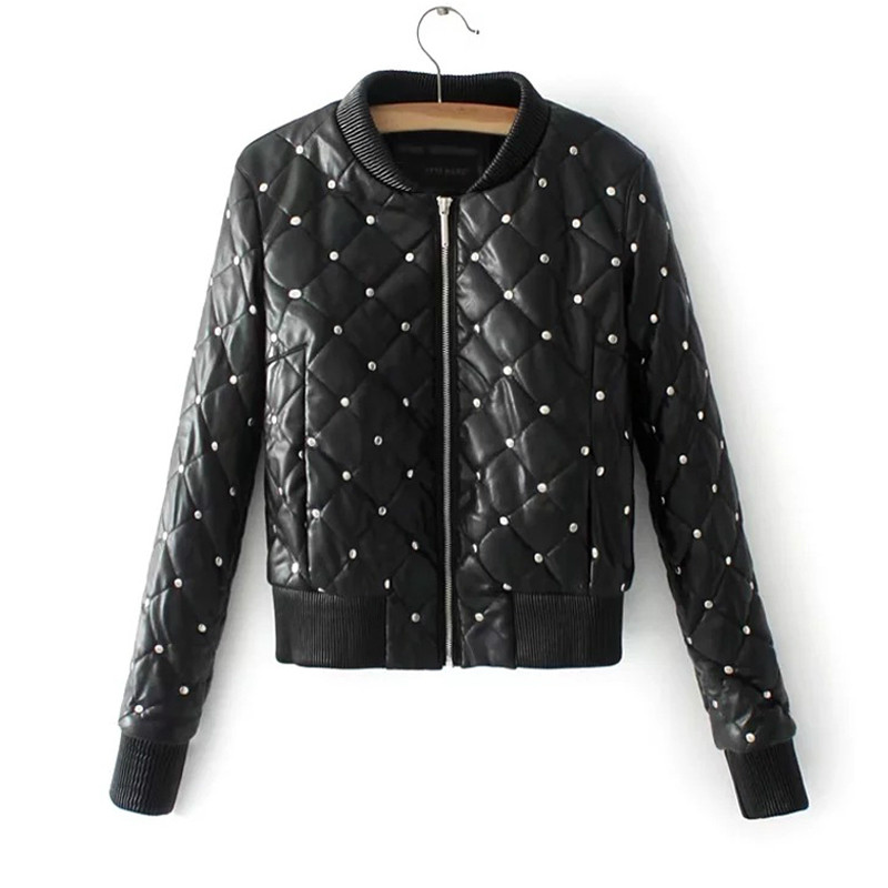 2019 Autumn Winter Women Thicke Cotton Pu   Leather   Coat Street Black Short Outerwear Rivets Faux Soft   Leather   Jacket