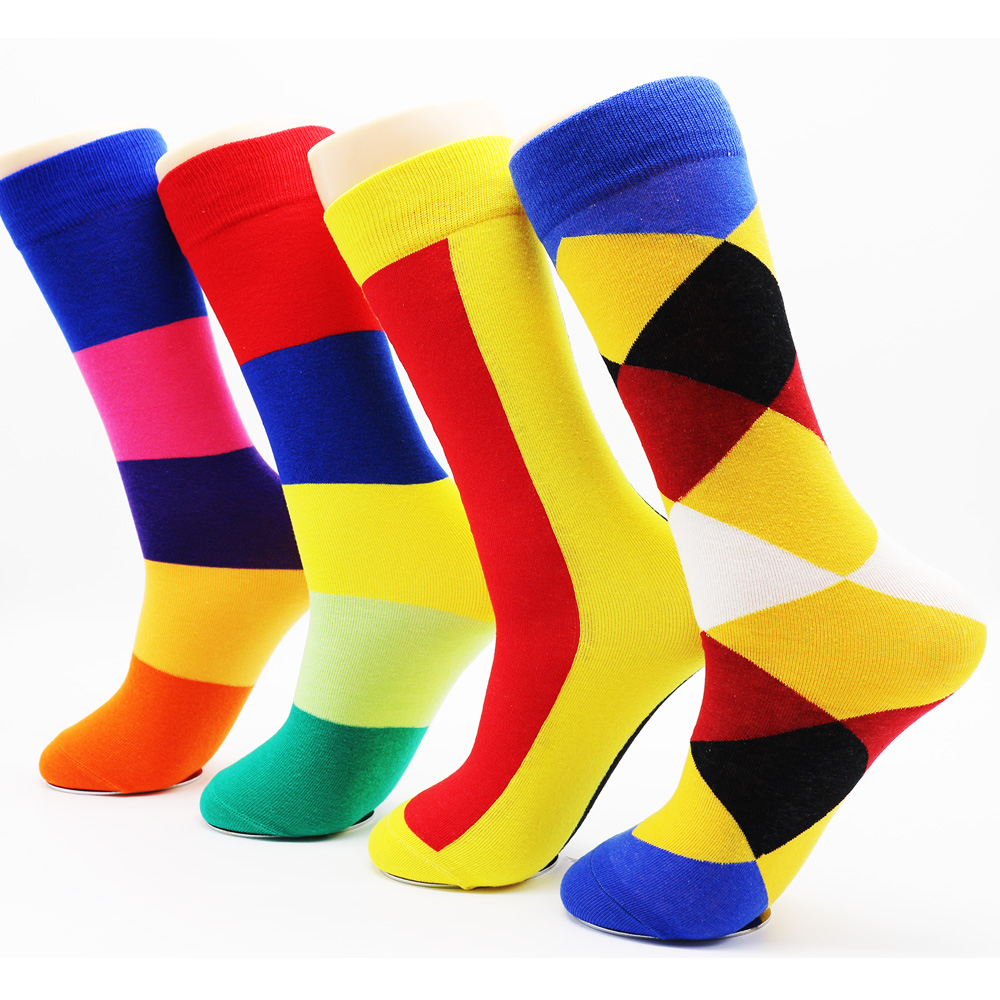 New colorful cotton stripe seamless men socks High quality hip hop men funky cool socks mens brand socks wholesale(4 pairs)
