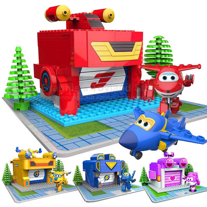 Super Wings Luanch Base Assemble Blocks Toys Deformation Airplane Robot Action Figures Transformation Boys Gift Brinquedos