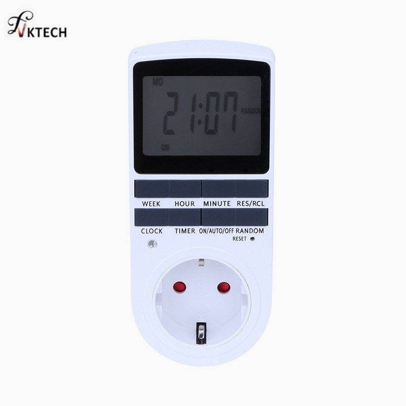 24h 7day Week Plug-in Electronic Timer with LCD Display for Indoor Appliance Lights/TV/PC/Fans/Kitchen Digital Timer EU Plug