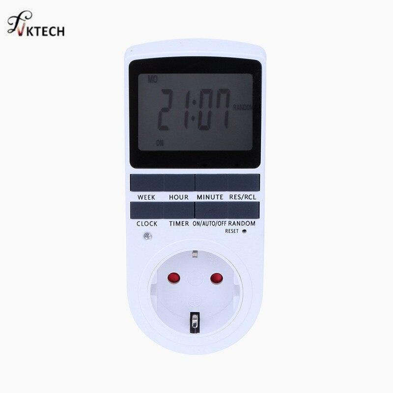 Plug in Digital Timer 24h 7day Week Timer LCD Display Timing for Indoor Lights/TV/PC/Fans/Kitchen US/EU Plug Timer Wihte