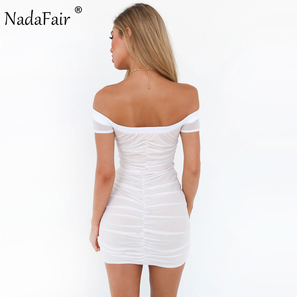 Nadafair Off Schulter Einstellbar Falten Sexy Club Bodycon Party ...