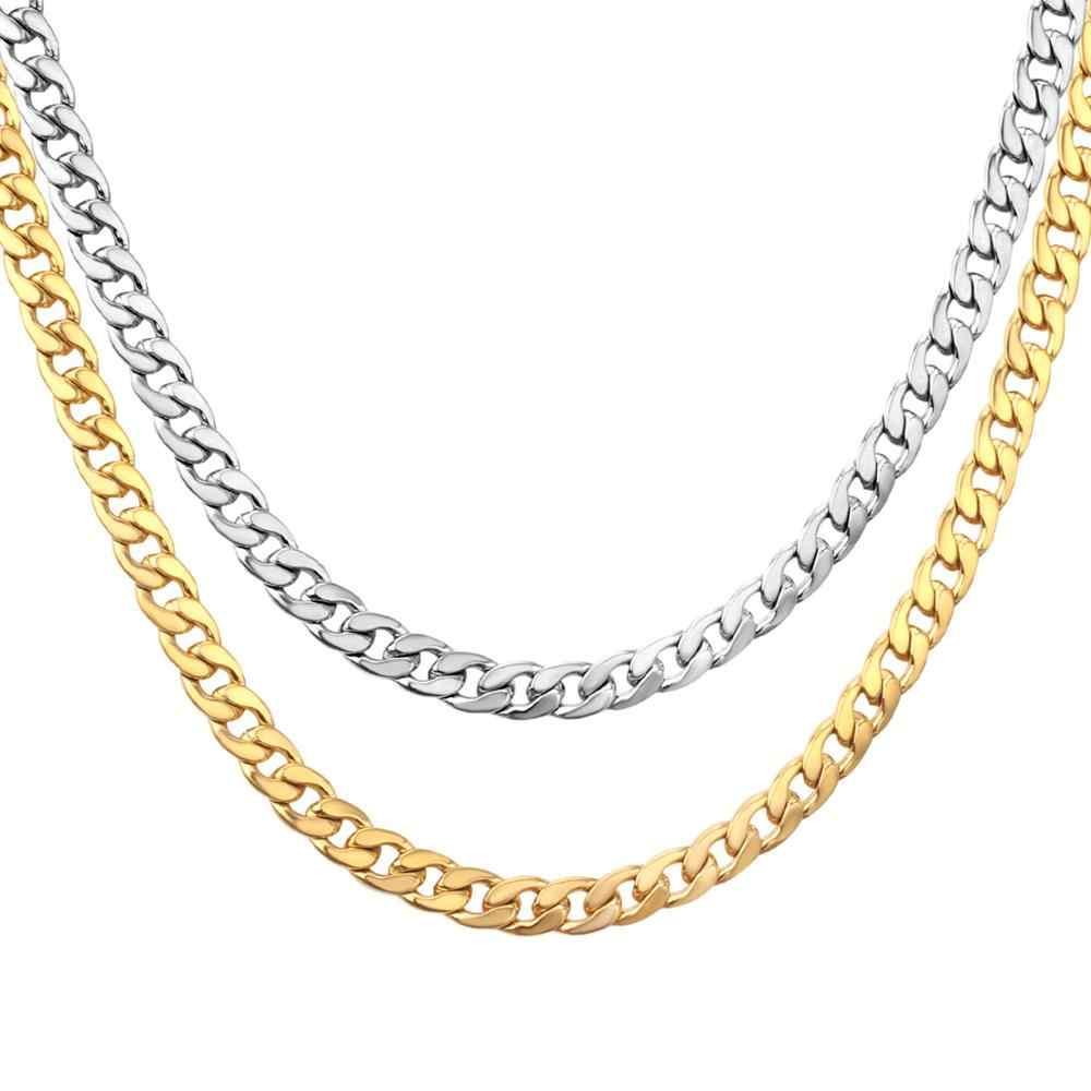 LUXUKISSKIDS זהב פלדת שרשרת שרשרת לגברים נשים 5mm/7mm 316L נירוסטה שרשראות סט ארוך גברים שרשרת DIY סיטונאי