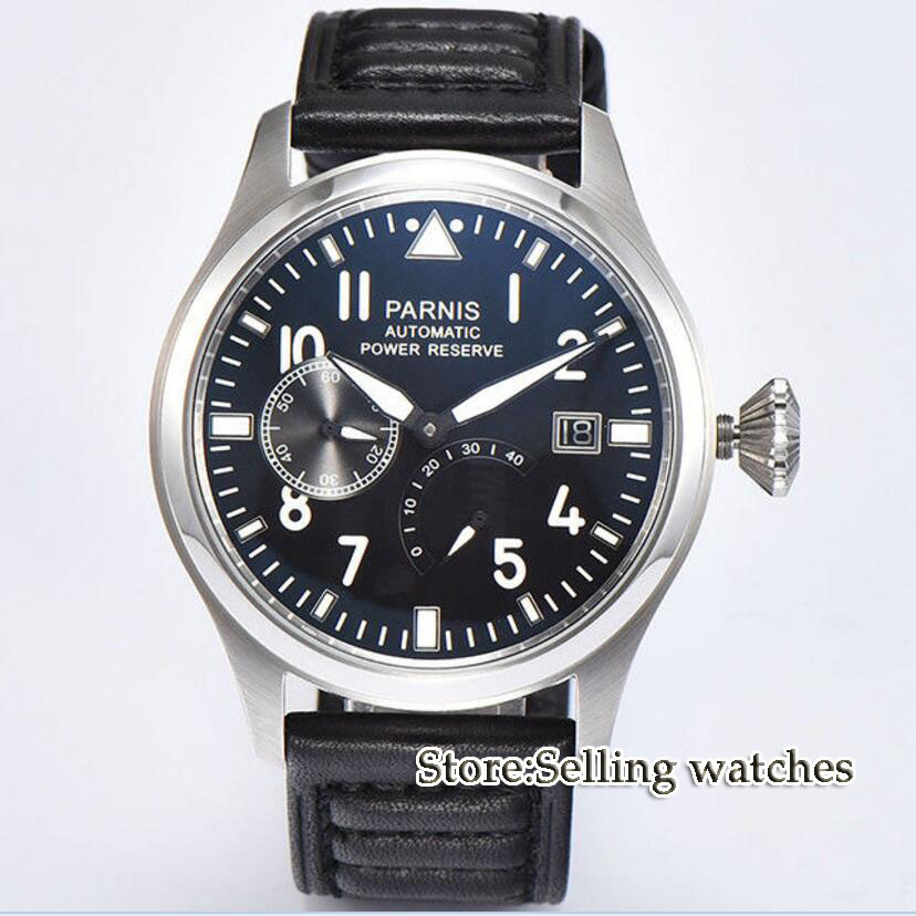 47 mm PARNIS Black dial Automatic Self-Wind movement power reserve men watches Mechanical watches 43mm parnis black dial automatic self wind mechanical movement power reserve mechanical watches men s watch x00066