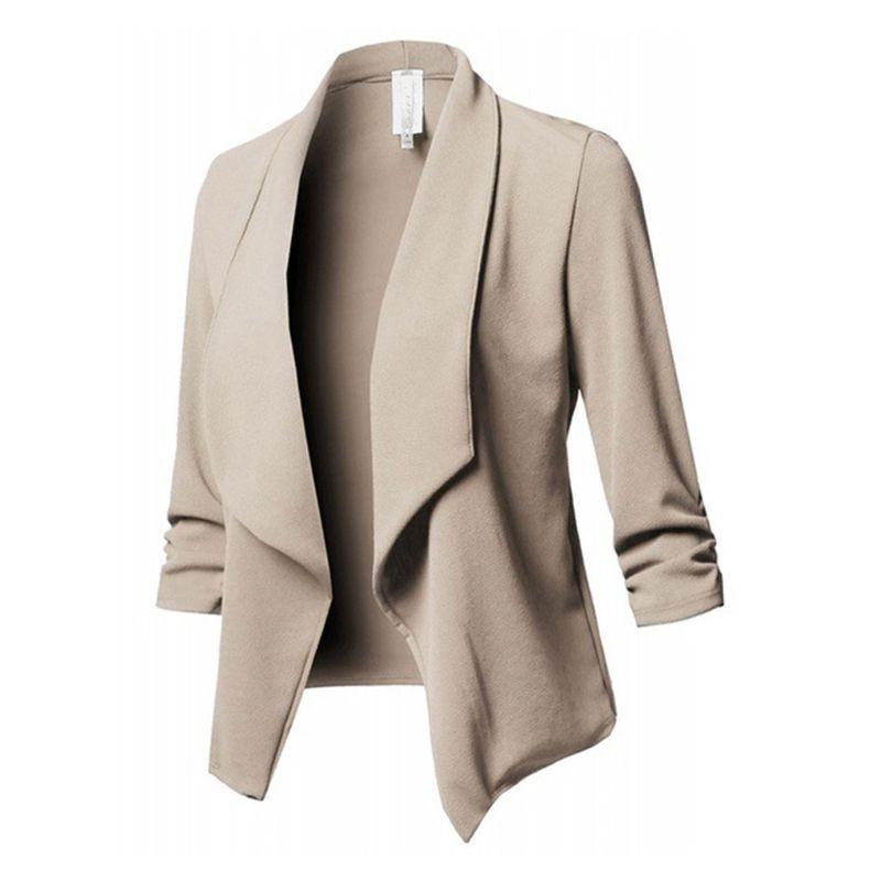 100% QualitäT Frauen Drei-viertel Hülse Büro Revers Mantel Vorne Offen Strickjacke Jacke Solide Verbraucher Zuerst