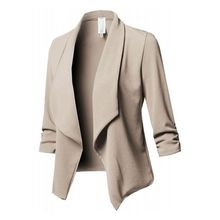 Womens Three-Quarter Sleeve Office Lapel Coat Open Front Cardigan Jacket Solid collarless open front asymmetric cardigan