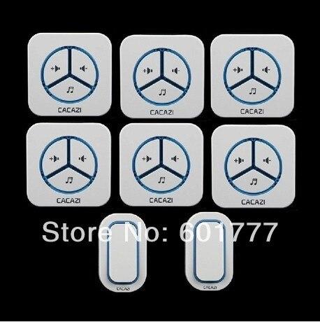 2 излучателей 6 приемника дверной звонок Водонепроницаемый 280 м работы беспроводной дверной звонок, беспроводные перезвон двери, беспроводн…