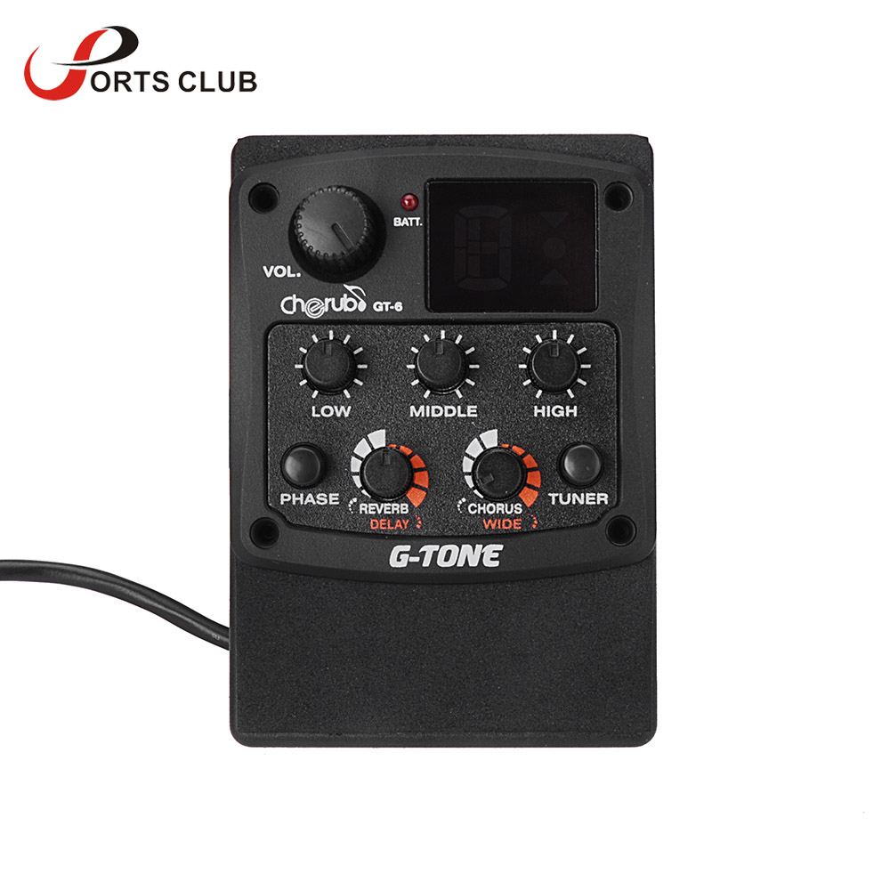 Muslady Guitare acoustique 4 bandes EQ /égaliseur ton volume amplificateur pr/éampli piezo avec affichage LCD