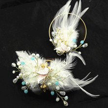 2 styles fairy cosplay hair flower white accessories feather vintage fox princess