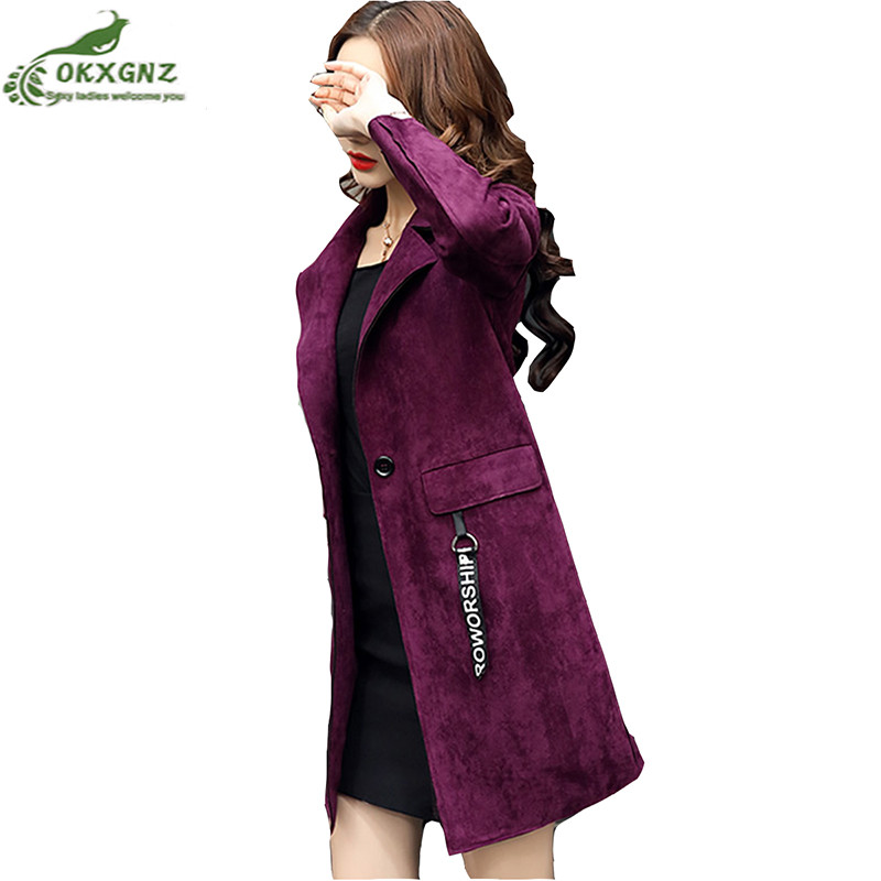Autumn new windbreaker women fashion large size Suede coat women Slim medium long spring long-sleeved lapel jacket OKXGNZ AF397