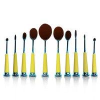 10 Pcs Professional Makeup Brushes Synthetic Oval Makeup Brush Set Face Powder Foundation Cosmetics Brush Tools