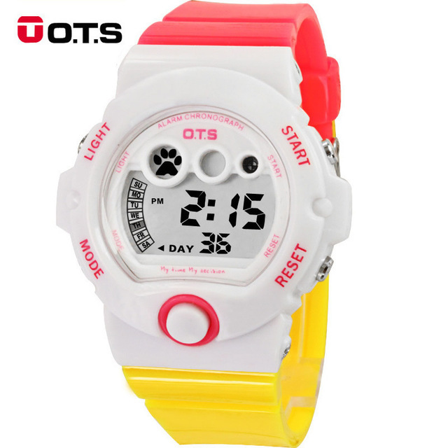 OTS Waterproof Digital Fashion&Casual Back Light relogio feminino dourado relogios femininos de pulso Birthgday/Christmas Gift