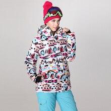 Winter sports ski jackets women GSOU graffiti print snowboard jacket snow skiing veste ski jas dames femme -30 degree skiwear