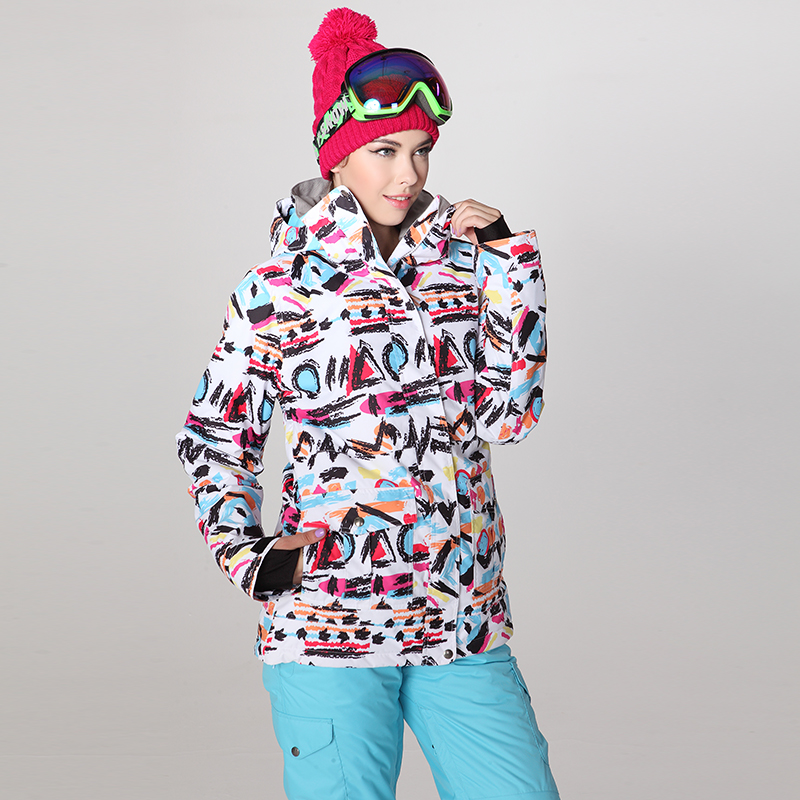 Winter sports ski jackets women snowboard jacket GSOU graffiti print mountain skii veste ski jas dames femme -30 skiwear носки горнолыжные мужские merinofusion winter sports all mountain brid