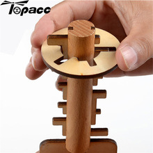 Intelligence Adult Classical Puzzle Wooden Unlock Key Lock Kids Children Handmade Toy Intellectual Brain Tease Game Educational educational unlock ring puzzle toy silver