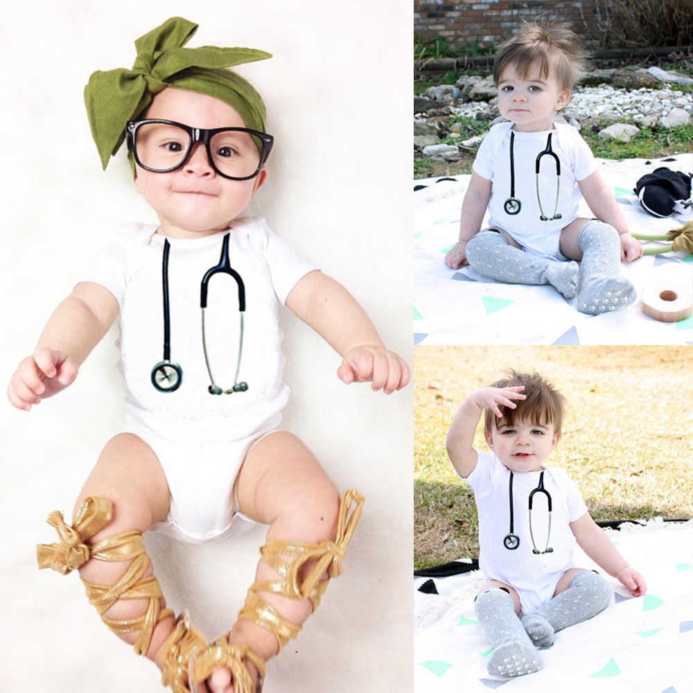 194434280cff2 Romper newborn baby Stethoscope pattern Cute clothes baby triangle climbing  Summer short-sleeved clothes