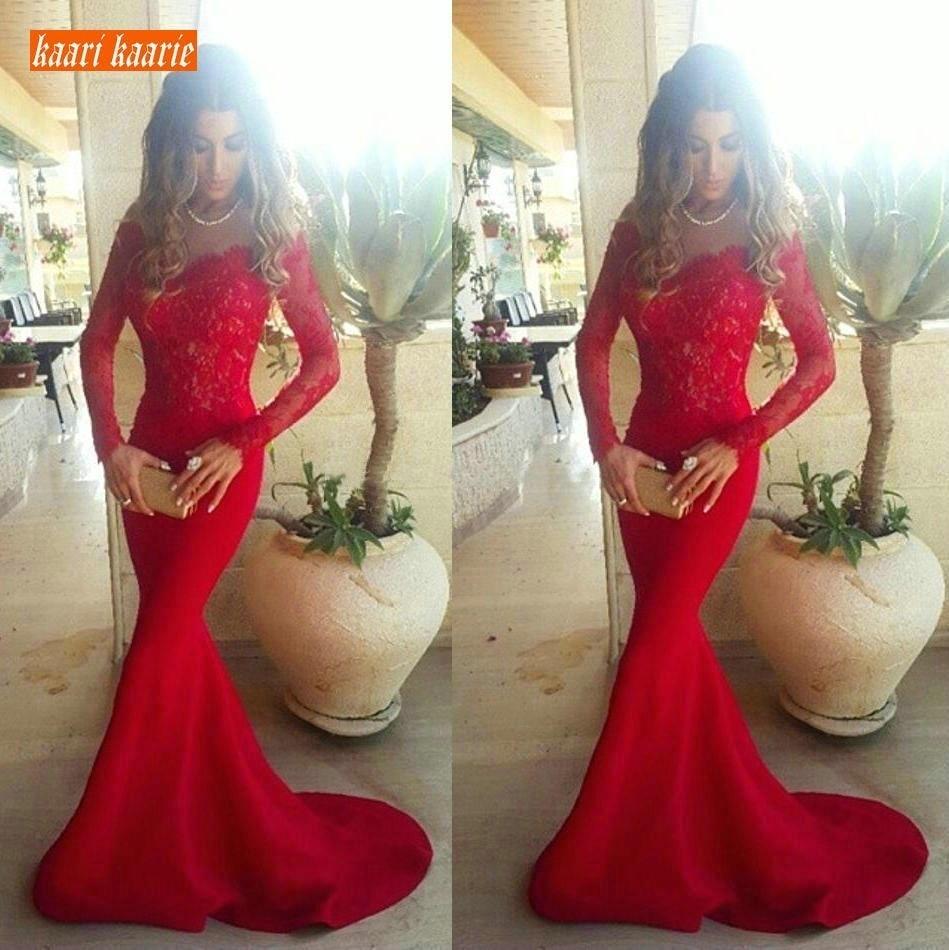 Fashion Red Mermaid Evening Dresses Long Sleeves 2019 Elegant Lace Elastic Satin Formal Dress Customized Banquet