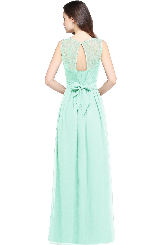 Chiffon Čipka Mint Zelená družička šaty Long 2017 A Line O krk - Šaty pro svatební hostiny - Fotografie 2
