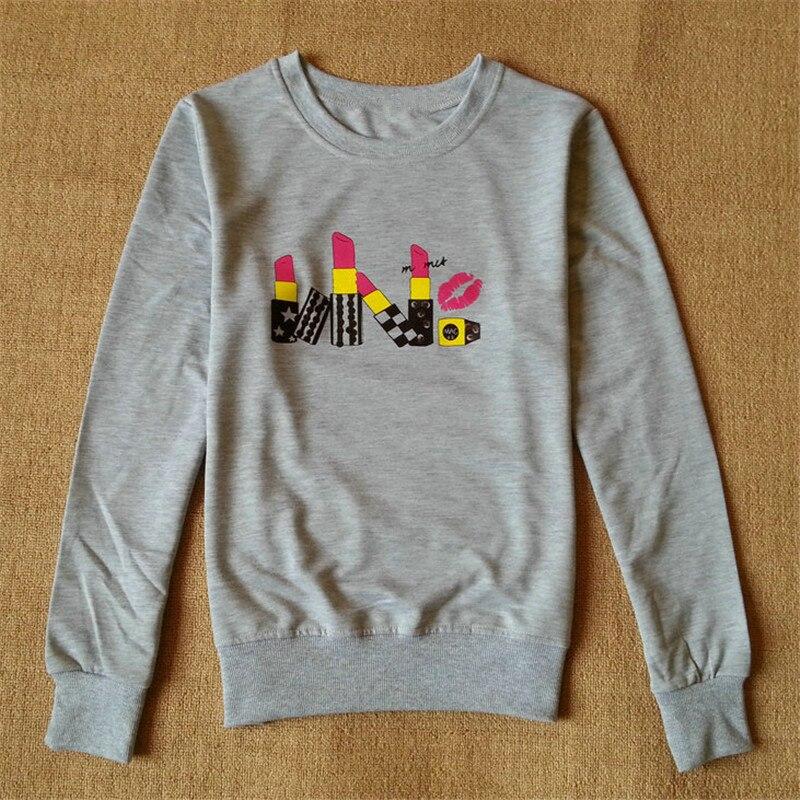 2017 New Harajuku Punk Tee Shirt Femme Kawaii Lipstick 3d Print Clothes Women T-shirt Long Sleeve Tshirt Women Camisetas Mujer