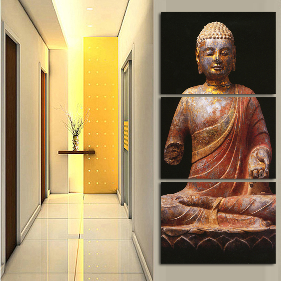 3 Panel Wall Art Religion Buddha Style Painting On Canvas Unframed ...
