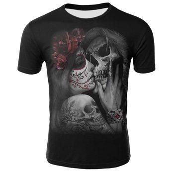 2019 t shirt men skull Gun and rose metal rock punk 3D digital print  Short Sleeve popular streetwear tshirt plus size Tops