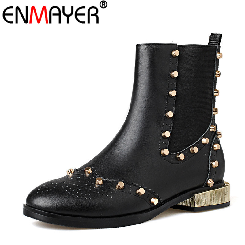 ФОТО ENMAYER New Fashion Rivets Ankle Boots Women Heavy Metal Autumn Spring Girl  Shoes Woman Comfortable Low Heels Motorcycle Boots