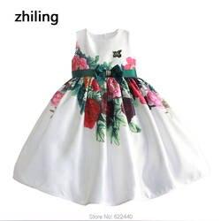 2018 милые большой бант Платье в цветочек для девочек с цветочным принтом для девочек Платье для первого причастия Новинка для маленьких