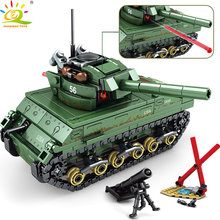 HUIQIBAO Toys 437pcs Military USA M4 Tank Building Blocks Compatible legoingly For Boys Army WW2 vehicle soldiers weapons bricks(China)