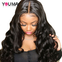250% Density Lace Front Human Hair Wigs For Women Natural Black 13x6 Lace Front Wig Pre Plucked Wavy Wigs Bleached Knots You May