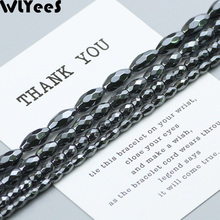 WLYeeS Faceted oval Hematite beads Black Natural Stone Rice shape Spacer Loose beads for jewelry Bracelet Accessories Making DIY natural stone chrysocolla approx 14x16mm oval shape loose beads approx 39cm diy jewelry making bracelet necklace