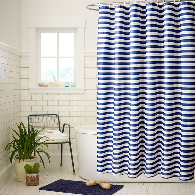 Navy Blue And White Striped Thick Polyester European Shower Curtains Bathroom Waterproof Curtain Unique