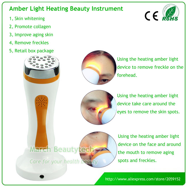 The Newest Design Freckles Pigment Age Spots Removal Heated Amber Photon Light Therapy Facial Beauty Massager Machine anti acne pigment removal photon led light therapy facial beauty salon skin care treatment massager machine