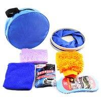 Car Cleaning Kit IncludeFolding Buckets, Gloves, Compressed Sponges, Car Wash Powder, Deerskin, Towel Cleaning Car, Oxford Bag