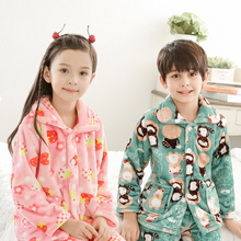 Nightgowns for children Flannel Long Nightdress Winter Pajamas warm Cardigan Girl Robe Boy And Girl lounge nightshirt