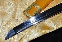 Tachi handmade katanas swords samurai japanese swords real clay tempered yellow saya dragon Tsuba