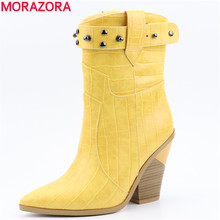 MORAZORA 2019 nouvelles femmes bottes épais talons hauts bout pointu western bottes femme haute qualité en cuir pu dames bottines chaussures